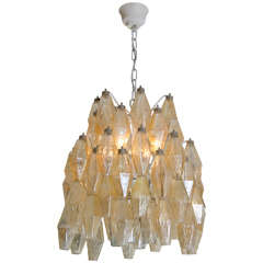 Italian Polyhedral Chandelier by Carlo Scarpa for Venini