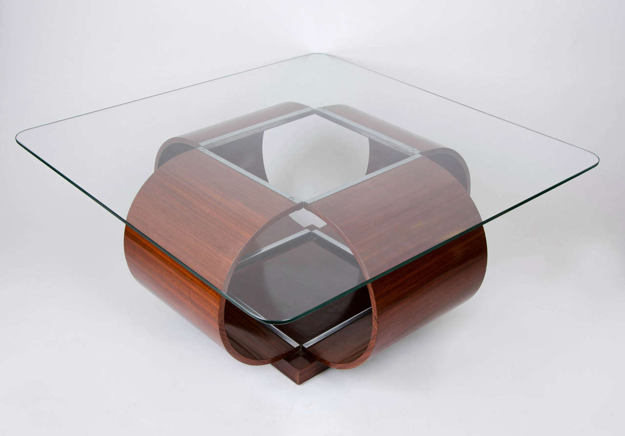 Italian glass top coffee table