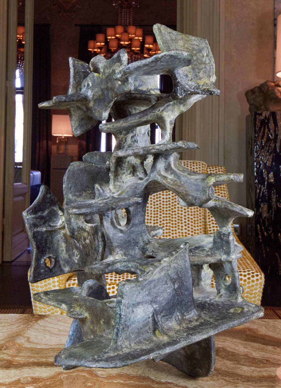 One of a kind abstract ceramic sculpture realized by the ceramist sculptor Marcello Fantoni in 1975,