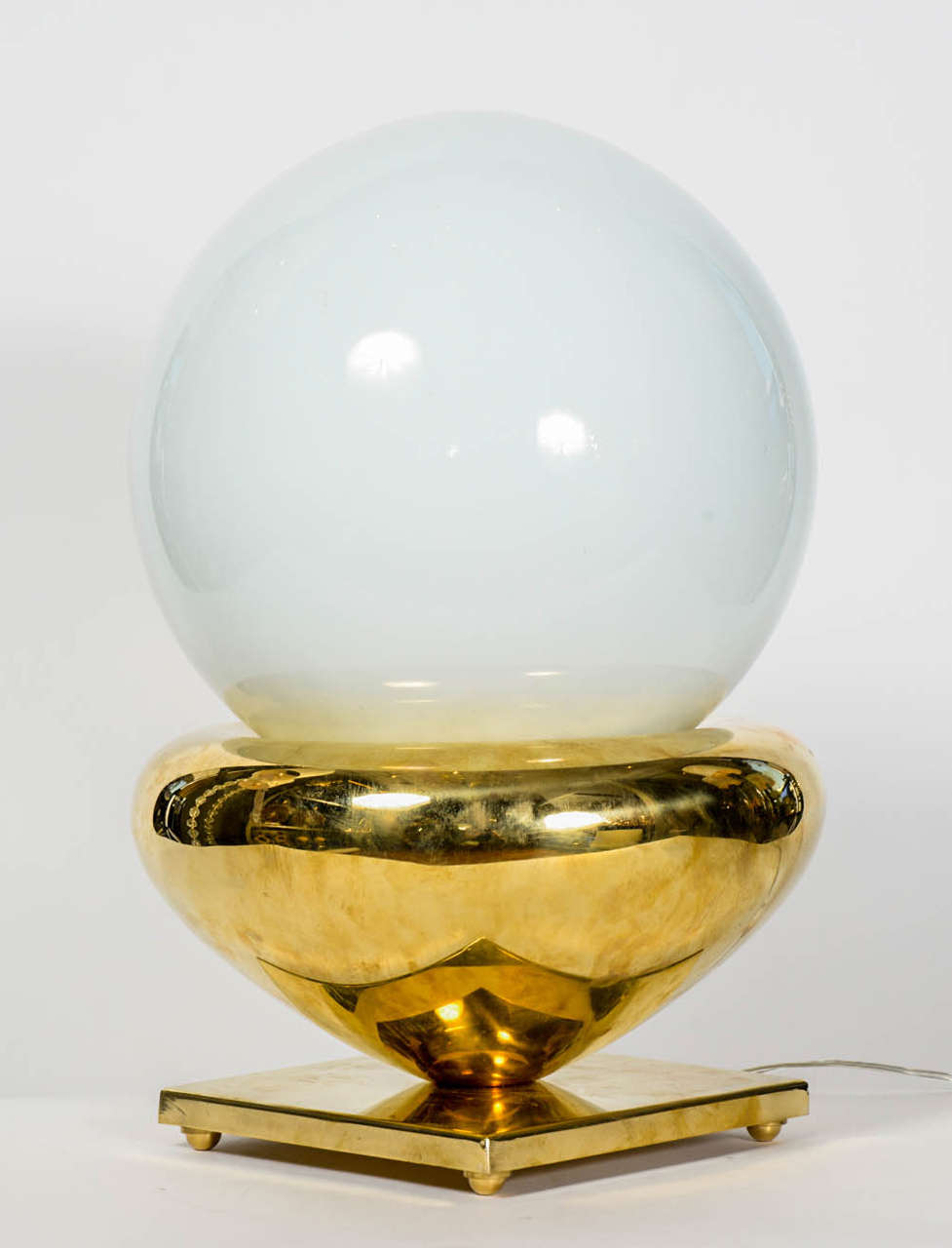 Pair Of Brass And White Glass Globes Lamps At 1stdibs