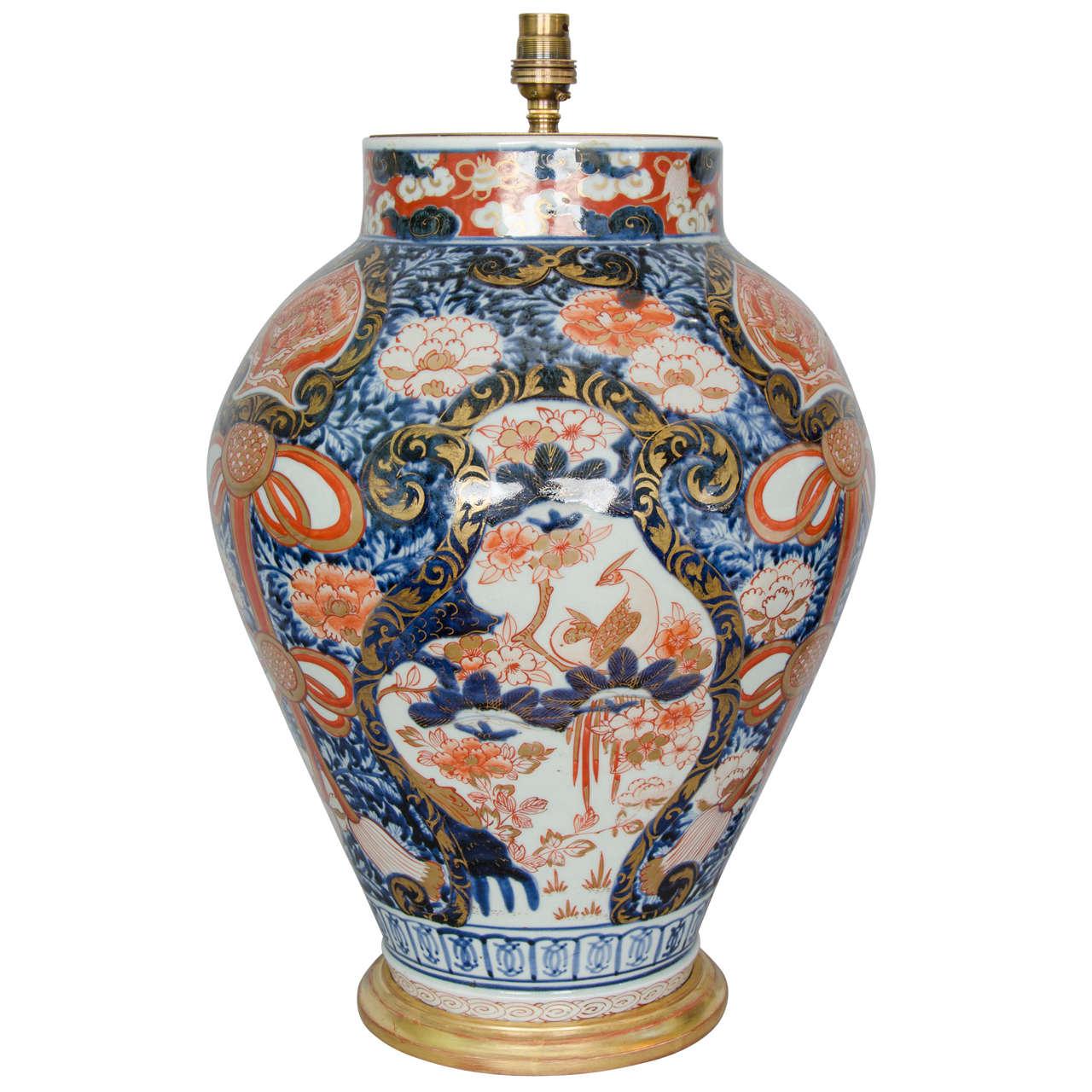 Japanese Imari Porcelain Vase Lamped, circa 1700