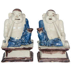 Pair of Delft Figures of Buddhas or Pu-Tai, circa 1720