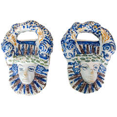 Pair of Polychrome French Faience Masks, Nevers circa 1660