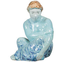 Blue Enameled Ceramic of a Woman by Odette Lepeltier, 1950s