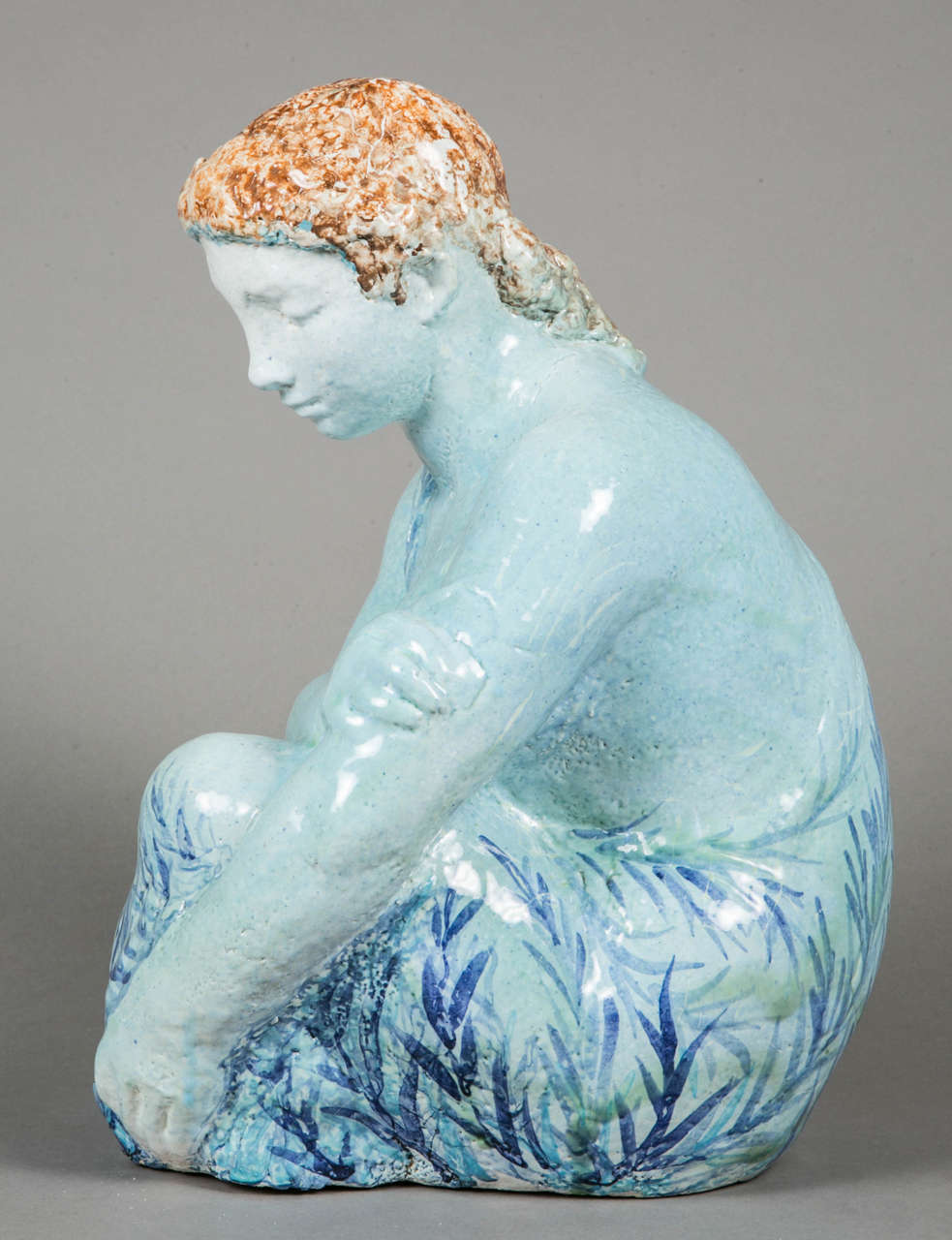Blue Enameled Ceramic of a Woman by Odette Lepeltier, 1950s In Good Condition For Sale In Paris, FR