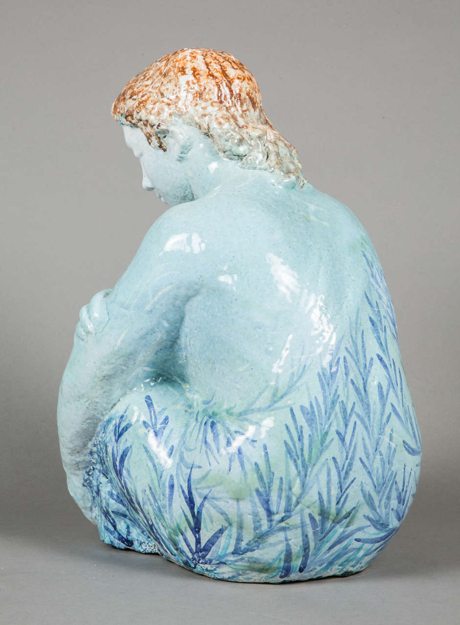 Mid-20th Century Blue Enameled Ceramic of a Woman by Odette Lepeltier, 1950s For Sale