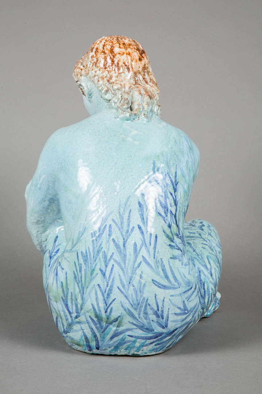 Blue Enameled Ceramic of a Woman by Odette Lepeltier, 1950s For Sale 1