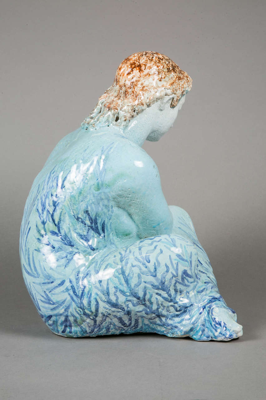 Blue Enameled Ceramic of a Woman by Odette Lepeltier, 1950s For Sale 2