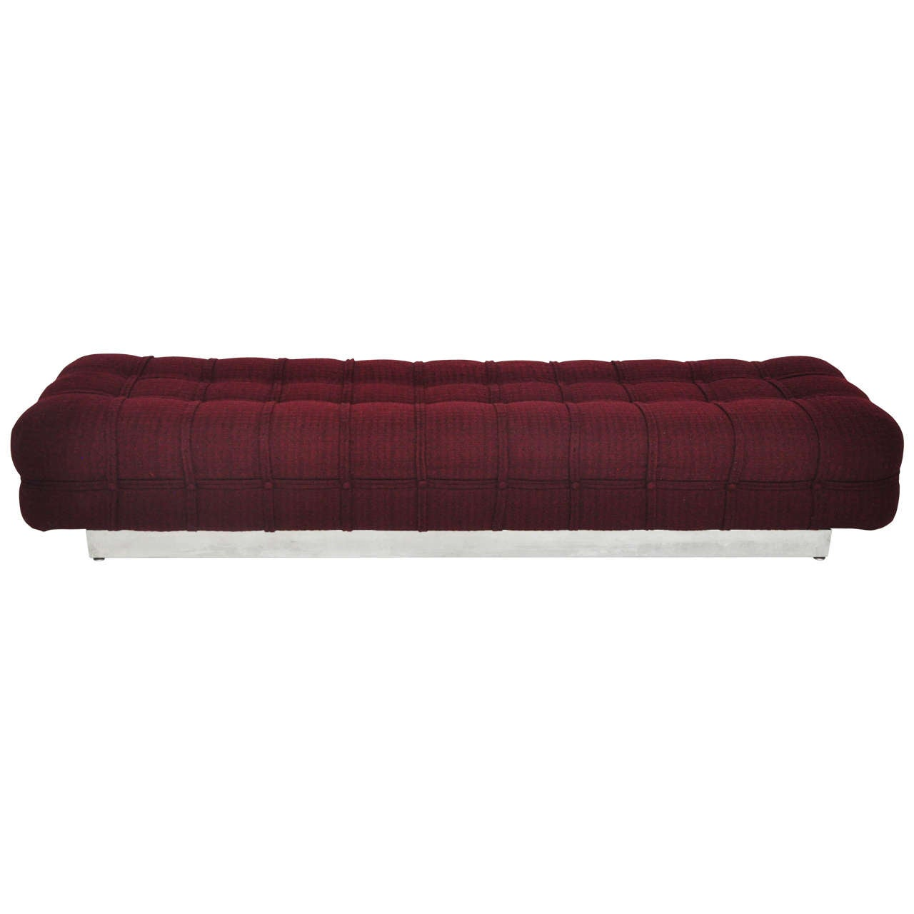 1960s Tufted Bench On Stainless Steel Base At 1stdibs