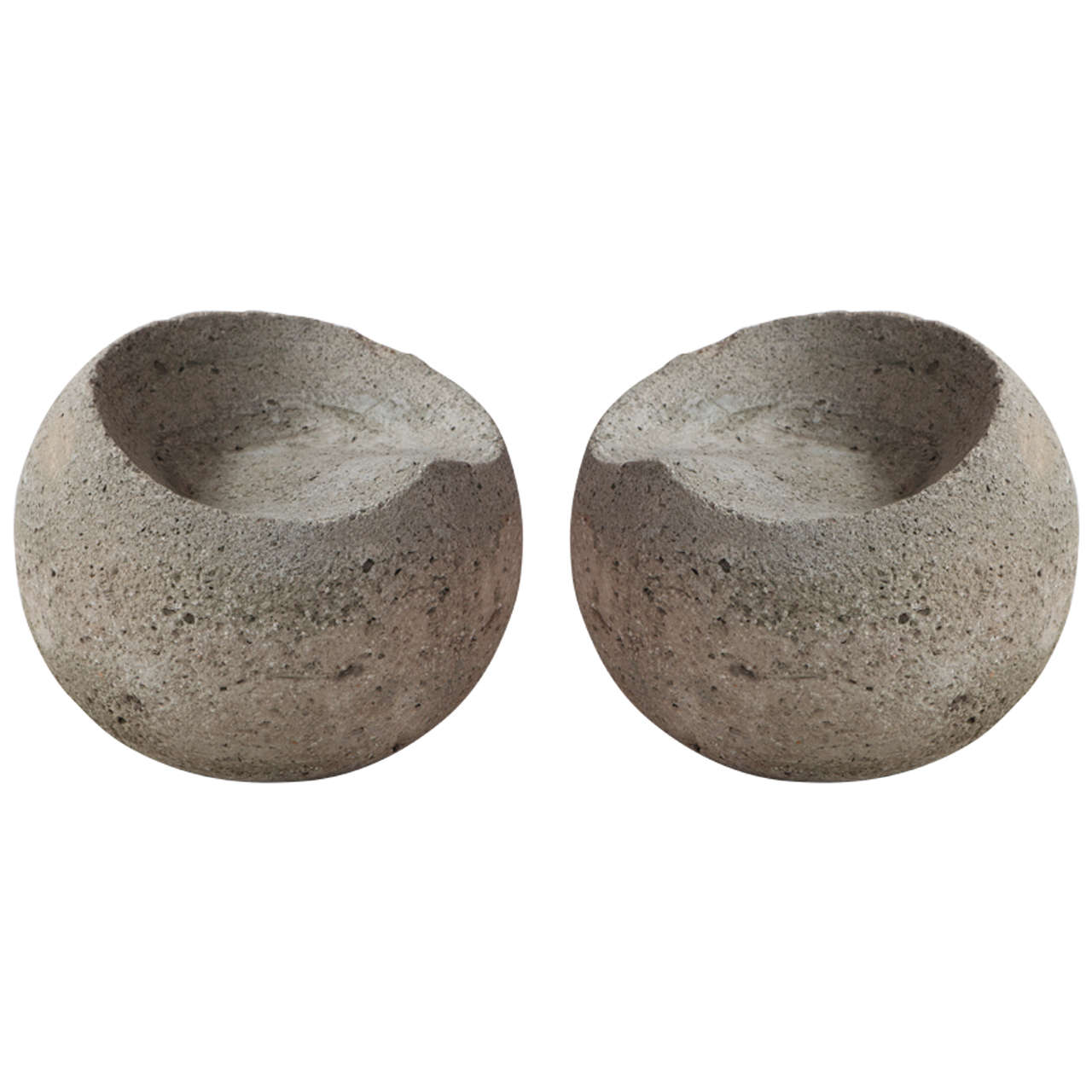 Carved Vintage Concrete Outdoor Sphere Stools At 1stdibs