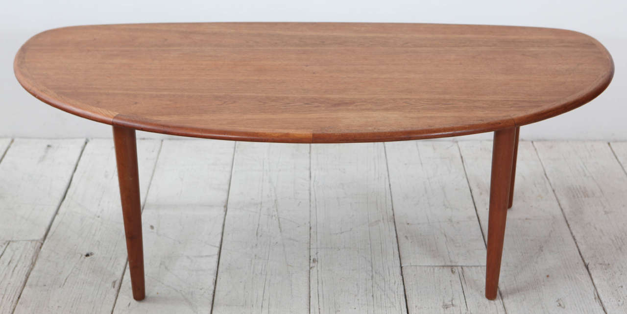 Unique Scandinavian modern oval table.