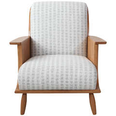 NK Collection Oak Scullie Wood Wrapped Arm Chair