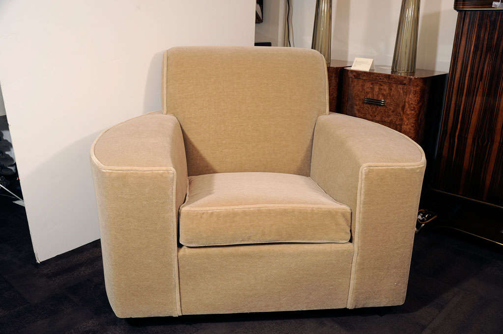 Pair of Art Deco Streamline Club Chairs in Camel  Mohair 2