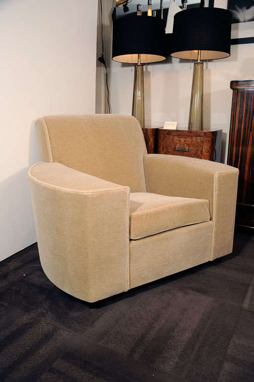 Pair of Art Deco Streamline Club Chairs in Camel  Mohair 6