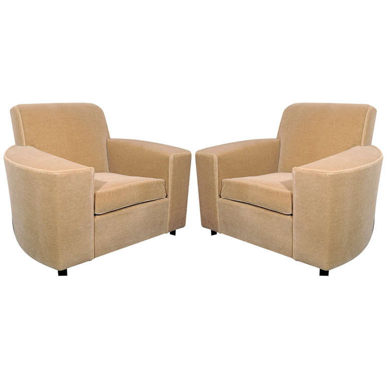 Pair of Art Deco Streamline Club Chairs in Camel  Mohair