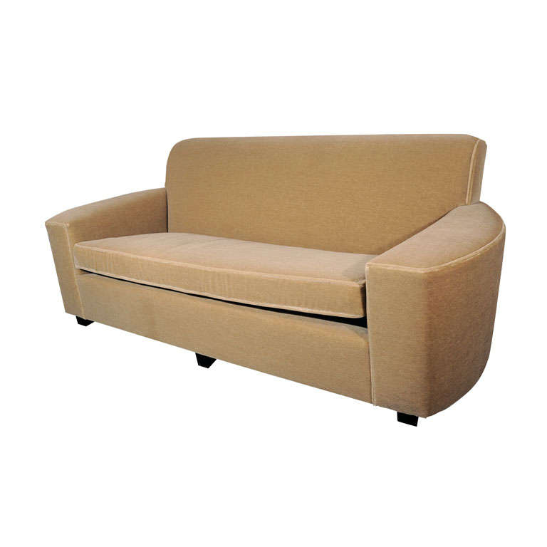 art deco streamline sofa in camel colored mohair at 1stdibs