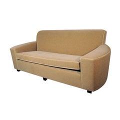 Art Deco Streamline Sofa in Camel Colored Mohair