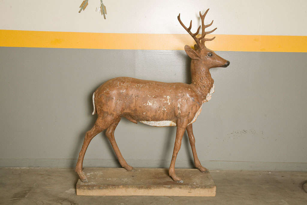 Standing Stag Labelled J.W. Fiske In Good Condition For Sale In Los Angeles, CA