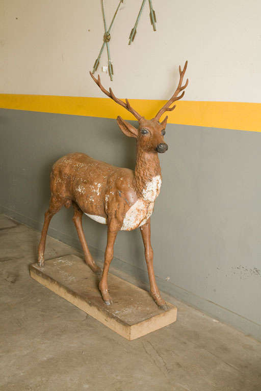 Iron Standing Stag Labelled J.W. Fiske For Sale