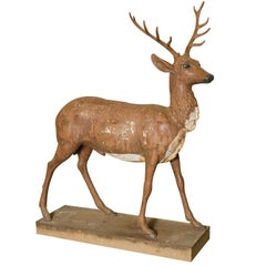 Standing Stag Labelled J.W. Fiske