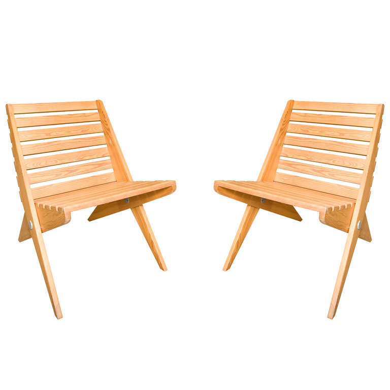 Pair of Plywood Chairs For Sale
