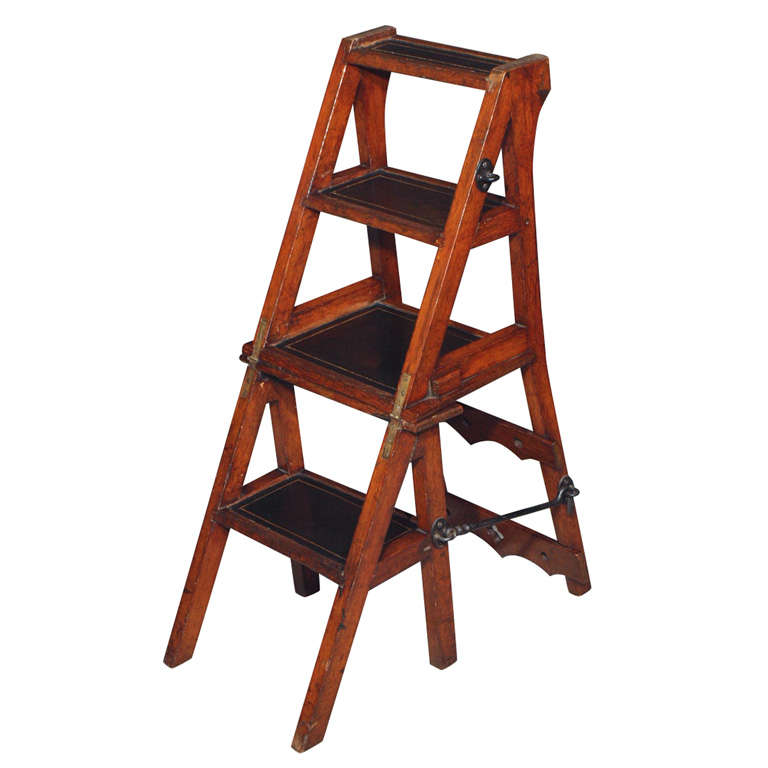 Antique Victorian Folding Library Steps Chair For