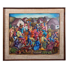 Mid Century Haitian Signed Painting in Original Frame
