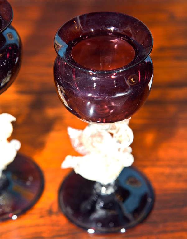 Set of Four Murano Swan Glasses image 7