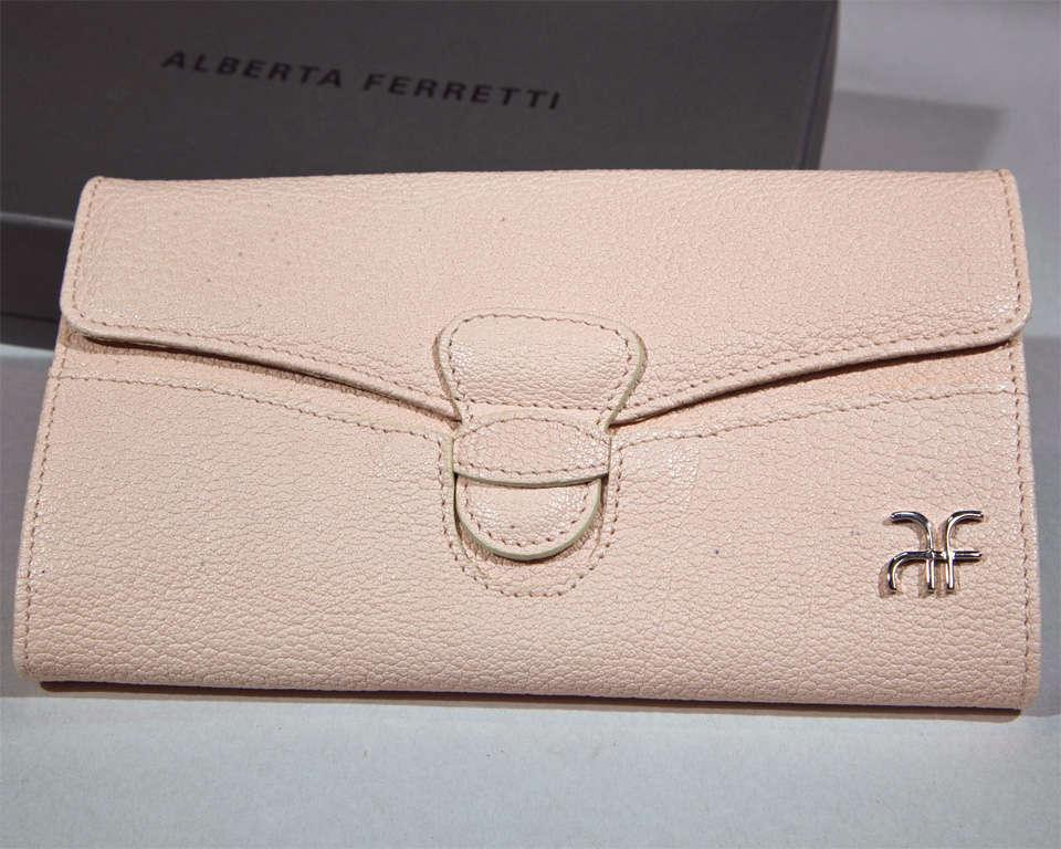Beige 'Pretty in Pink' Clutch Wallet by Alberta Ferretti For Sale