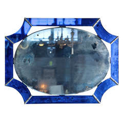 Art-Deco Mirror with Blue Glass