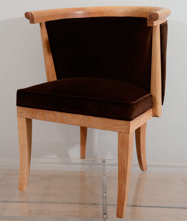 Eight neoclassical barrel chairs by ROmwebber. The finish is a lightly limed oak with velvet upholstery.