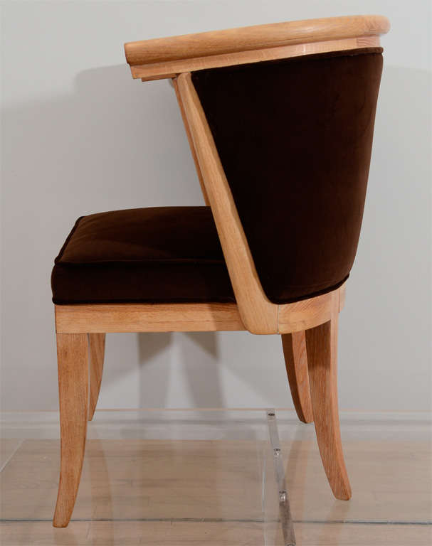 Eight Oak and Velvet Barrel Chairs by Romwebber In Excellent Condition For Sale In New York, NY
