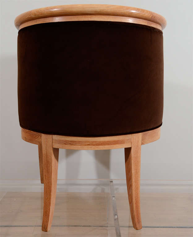 Mid-20th Century Eight Oak and Velvet Barrel Chairs by Romwebber For Sale