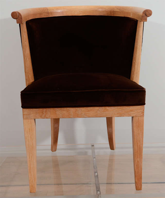 eight oak and velvet barrel chairs by romwebber for sale at 1stdibs. Black Bedroom Furniture Sets. Home Design Ideas