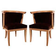 8 Oak & Velvet Barrel Chairs by Romwebber