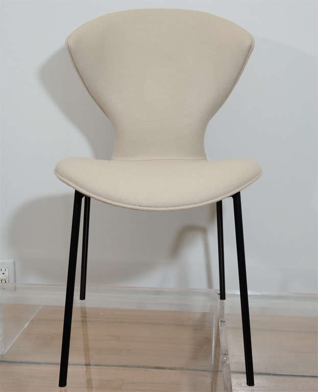 Ten rare sculptural chairs in felt wool over bent plywood with iron base by French designer Geneviene Dangle for Burov. The flexibility of the bent plywood seat adds an elevated comfort to this piece. Measures: Seat H 18