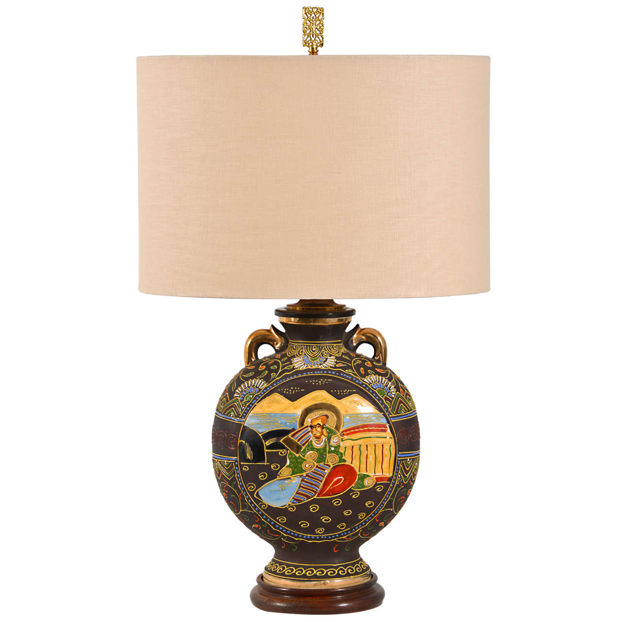 Japanese Satsuma Vase As A Table Lamp For Sale