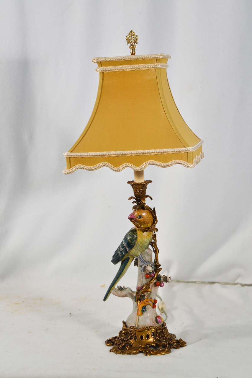 Porcelain Parrot Candle Holders Mounted On Ornate Brass Bases With Brass  Fittings. Majolica Style Porcelain