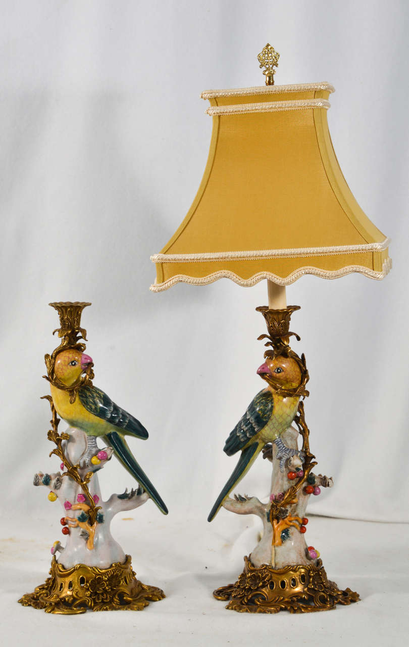 Porcelain Parrot Candle Holders As Lamps At 1stdibs