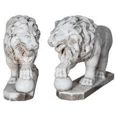 Pair of Italian Marble Lions