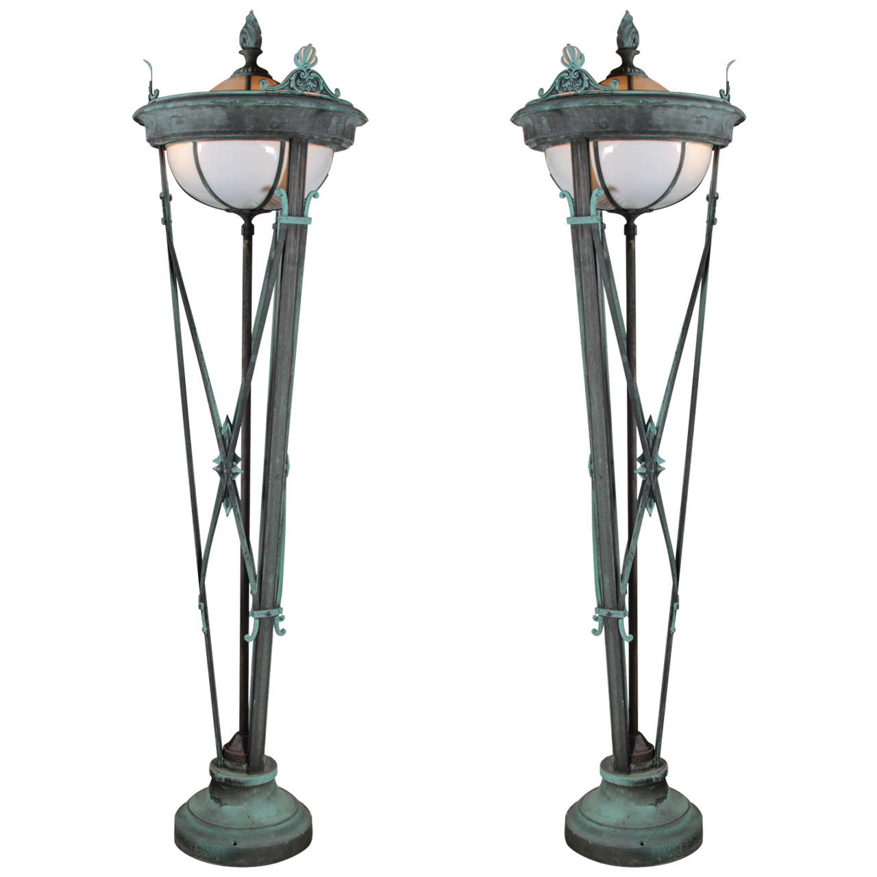 Six foot tall grand bronze entry lamps at 1stdibs for 7 foot tall floor lamp