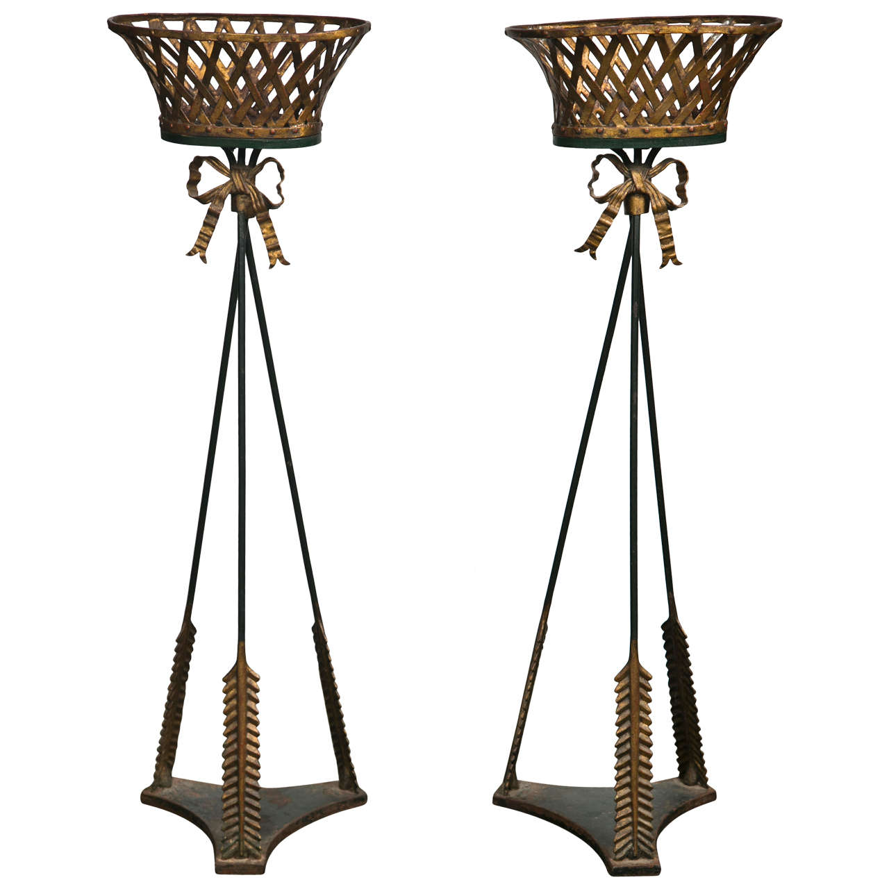 Pair of Basket Form Jardinieres