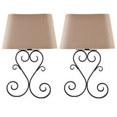 Pair of Iron Sconces and Shades