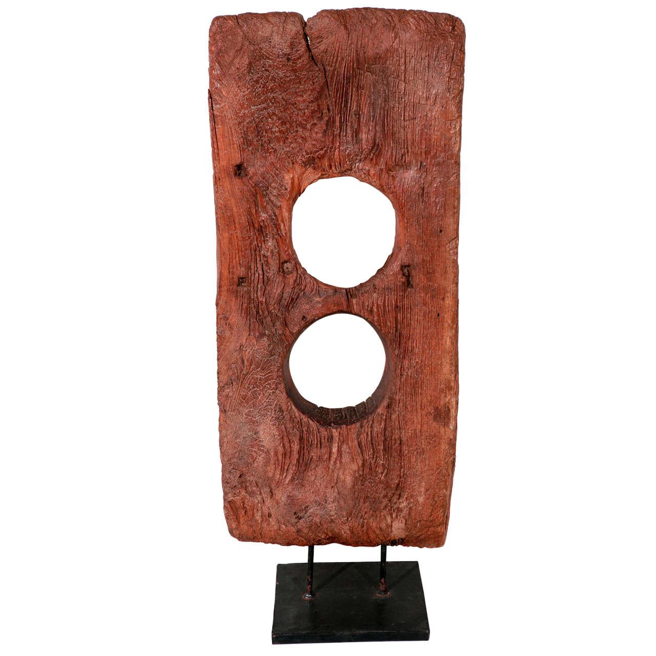 Vintage Hand Hewn Asian Wood Sculpture For Sale