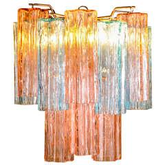 multi colored 2 tier Venini style chandelier