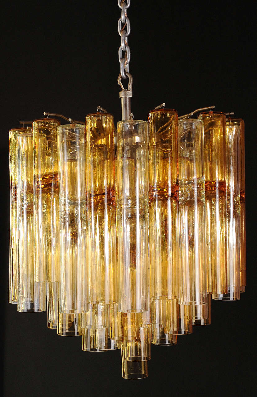 Impressive Large Venini Chandelier With 59 Amber Colored And Transpa Glass S Of A Model Called