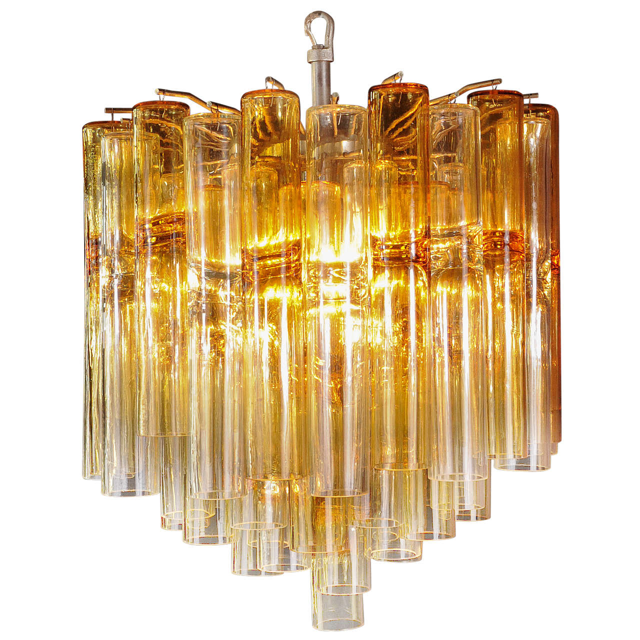 Venini Four-Tier Chandelier with Amber Murano Glass Tubes