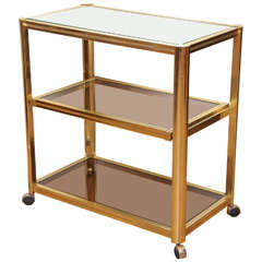 Modernist Brass and Glass Rolling Bar Cart, circa 1960s