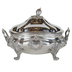 Elegant Silver-Plated Tureen with Foliate Decoration