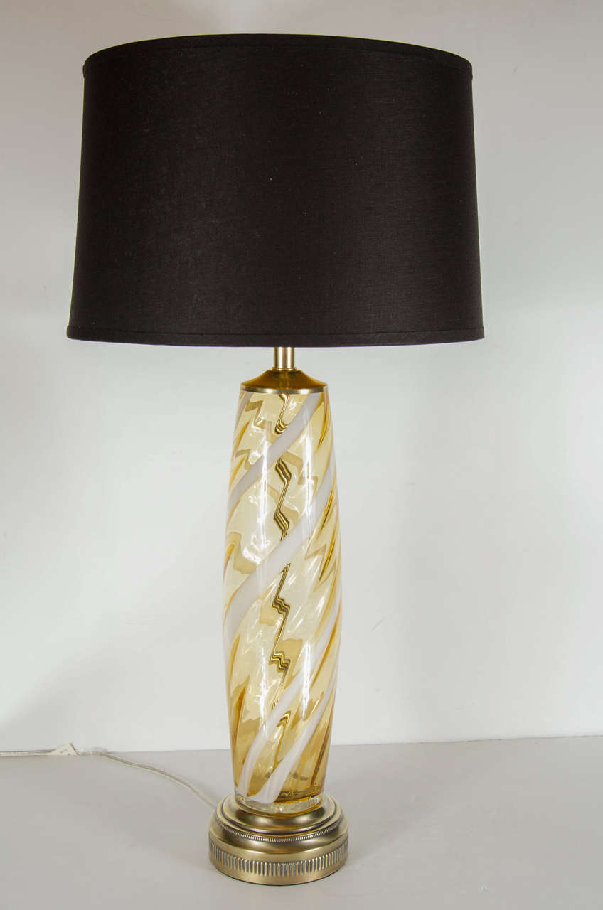Mid Century Modern Handblown Murano Glass Column Table